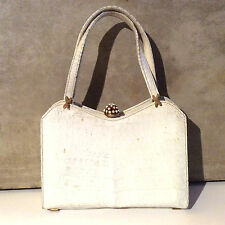 Vintage Sacha Snakeskin Handbag White Fashion Fancy Beaded Closure Beautiful!