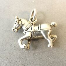 .925 Sterling Silver 3-D CLYDESDALE HORSE CHARM NEW 925 Belgium Pendant HS21