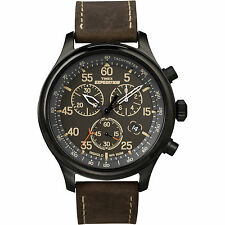 Timex Men's Expedition | Brown Leather Strap Field Chronograph Watch T49905