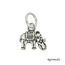 2PC Antique Sterling Silver Tiny Elephant Dangle Pendant Charm Beads #97540