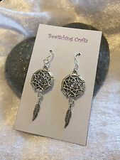 �� Lilac Dreamcatcher Feather Earrings Silver Plated Hooks Gift Valentines Wicca
