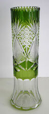 "VINTAGE NACHTMANN EMERALD OR RESEDA CASED CUT TO CLEAR CRYSTAL 12"" VASE"