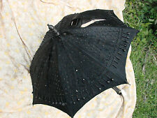 Vintage Victorian BEADED Umbrella 18w 22L  Carved Wood Handle BLACK TLC Antique