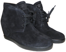 Prada Black Suede Hidden Concealed Wedge Lace up Boot 38.5 Booties 8.5