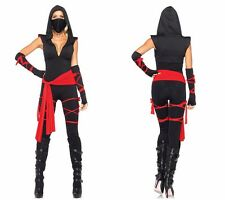 COS196  Masked Warriors Women Halloween Pirate Clothes Black Ninja Suits