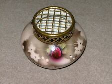 Antique flower vase rose bowl with brass grill.Hand painted plums, sponge effect
