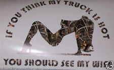 TRUCK Hot Wife Real Tree M4 CAMO Window Decal F150 F250 F350 Ram GMC CHEVY 1500