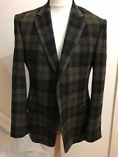 GIEVES & HAWKES 100% WOOL TWEED BROWN BLACK PLAID BLAZER SPORTCOAT SZ 40 REG