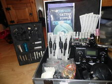 NEW Professional UK Tattoo Kit Dual Power Supply 2 Cast Machines Needles ink etc