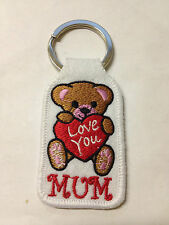 """""""LOVE YOU MUM"""" EMBROIDERY KEYRING EMBROIDERED PATCH BADGE KEY CHAIN CHROME RINGS"""