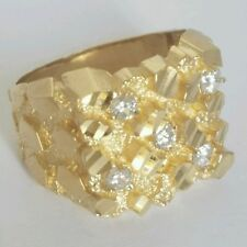 .50 Carat Big Man's solid 14k yellow Gold Nugget Ring Diamond cut S 10