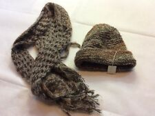 Scarf And Hat Set Brown Wool Made In Italy New Rikes Dayton