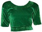 Grün Samt Top Choli für Bollywood Sari Gr. S bis 3XL