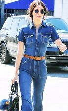 FRAME DENIM SZ LARGE BLUE DENIM LE FLARE DE FRANCOISE OVERALLS PLAYSUIT JUMPSUIT