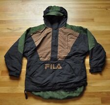 Vintage 90s FILA Nylon Jacket Hooded Pullover Colorblock M - Hip Hop Spellout