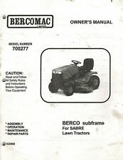 BERCO SUBFRAME for SABRE  LAWN TRACTOR  OPERATOR'S  MANUAL