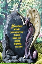 Touching Solar Lighted Angel with Dove Memorial Garden Statue New