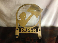 Vtg Antique Art Deco Newspaper Holder Stand w/ Boy Lightning Bolt Star of David