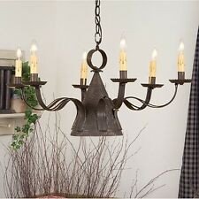 Madison 6 arm Pierced Tin Chandelier in Black Finish | Primitive Country Lights
