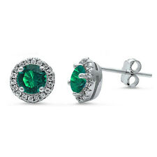 Halo Green Emerald & Cz Stud .925 Sterling Silver Earrings