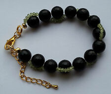 Genuine frosted black agate & peridot gold plated bracelet - handmade!