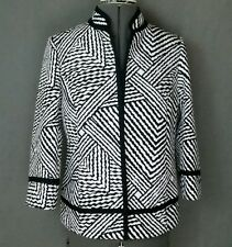 New Chicos Size 0 Blazer Jacket Black White Geometric Abstract Brock 3/4 Sleeve
