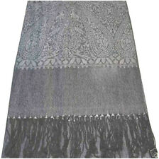 Silver & Black Paisley Pattern Shawl Pashmina Scarf Wrap Stole CJ Apparel *NEW*