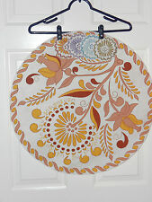 """ARTEX VINTAGE CIRCULAR TABLE CLOTH 24"""" WITH 4 COASTERS PAINTED DESIGN ON CLOTH"""