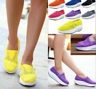 Girl Womens Platform Shoes Crochet Lace Slip On Comfort Sports Trainer Sneaker
