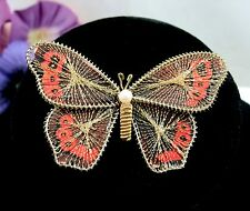 """ADMIRAL BUTTERFLY Paper &  Wire Brooch Vintage Pin Faux Pearl Brown Orange 2.5"""""""