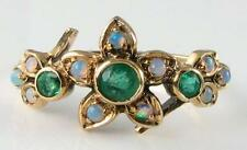 BEAUTIFUL 9K 9CT VICTORIAN INSP  EMERALD & OPAL FLOWER RING