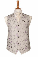 MENS AND PAGE BOYS LILAC & SILVER VINE WEDDING DRESS SUIT WAISTCOAT ALL SIZES