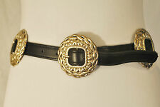CHIC BLACK LEATHER SILVER CONCHO MEDALLIONS BUCKLE WESTERN BELT S/M