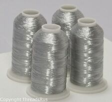 NEW SILVER METALLIC MACHINE EMBROIDERY THREADS KIT