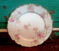 Antique ELITE WORKS, LIMOGES France Hand Painted Plate, Flowers, Leaves
