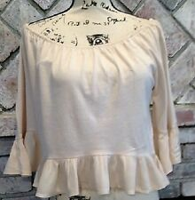 ZARA TRAFALUC SOFT PINK RUFFLES ON SLEEVES AND BOTTOM OF TOP Sz M NWTs