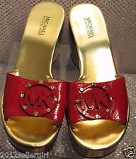 MICHAEL MICHAEL KORS RED PATENT LEATHER SLIP-ON MULE PLATFORM SANDAL SHOE SZ 7.5