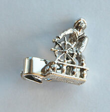 VINTAGE MENS JEWELRY SILVER METAL TIE CLIP TACK FISHERMAN CAPTAIN NAUTICAL 1980s