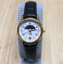 Vintage Timex Lady Gold Tone Moon Phase Analog Quartz Watch Hour~Date~New Batter