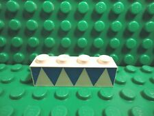 Lego 1 White 1x4 brick block with printed blue triangles