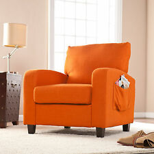 CAC50919 ORANGE ACCENT ARM CHAIR WITH SIDE POCKET