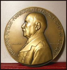 1941 FRENCH LG ART DECO MEDAL VICHY MARSHAL PETAIN FRENCH HEAD OF STATE BY TURIN