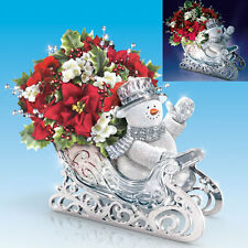 Delivering Holiday Cheer Snowman in Sleigh Thomas Kinkade Bradford Exchange