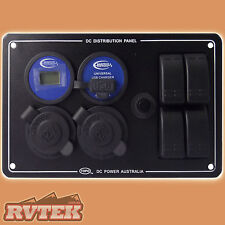 BAINTECH 12 VOLT DISTRIBUTION POWER PANEL VOLTMETER 2 x CIGA & 2.3A USB SOCKET