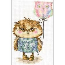 Counted Cross Stitch Kit.  Dream. Owl with Balloon  6 x 4 inches