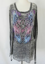 New Rock&Roll Cowgirl Top Long Sleeve Distressed Multi-Color Rhinestones SizeXXL