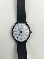 VINTAGE CARINA Quartz WRIST WATCH Leather Band Stainless Steel Back SWISS MADE