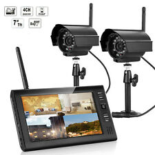 "7"" LCD DVR CCTV 2.4G Quad Wireless Home Security System Monitor 2IR Camera UK"