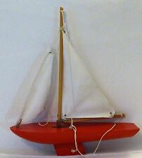 Wood Model Sail Boat Red hull Canvas sails - Hold Fast