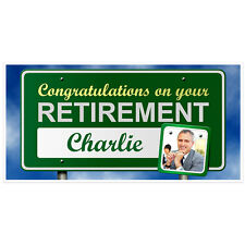 Congratulations on your Retirement Banner Custom Photo Party Decoration